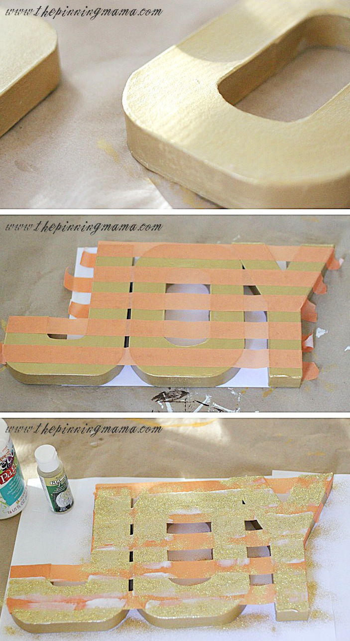 Diy Glitter Striped Letters For Holiday Decor