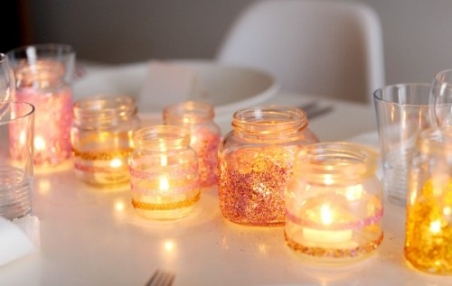 DIY Glitter Votives For Your Holiday Table