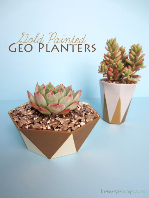 DIY Gold Painted Geo Planters
