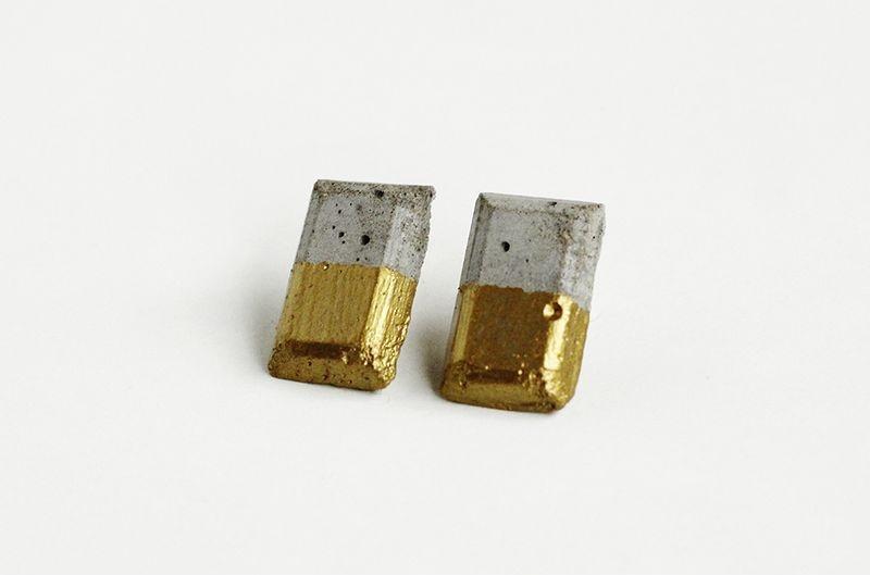 DIY Gold Dipped Concrete Earrings