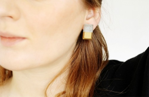 Diy Gold Dipped Concrete Earrings
