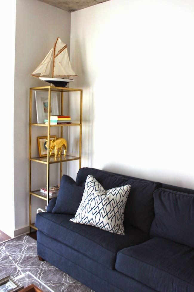 picture of diy gold etagere from an ikea shelf