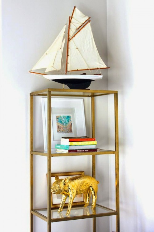 gold etagere from an IKEA shelf (via shelterness)