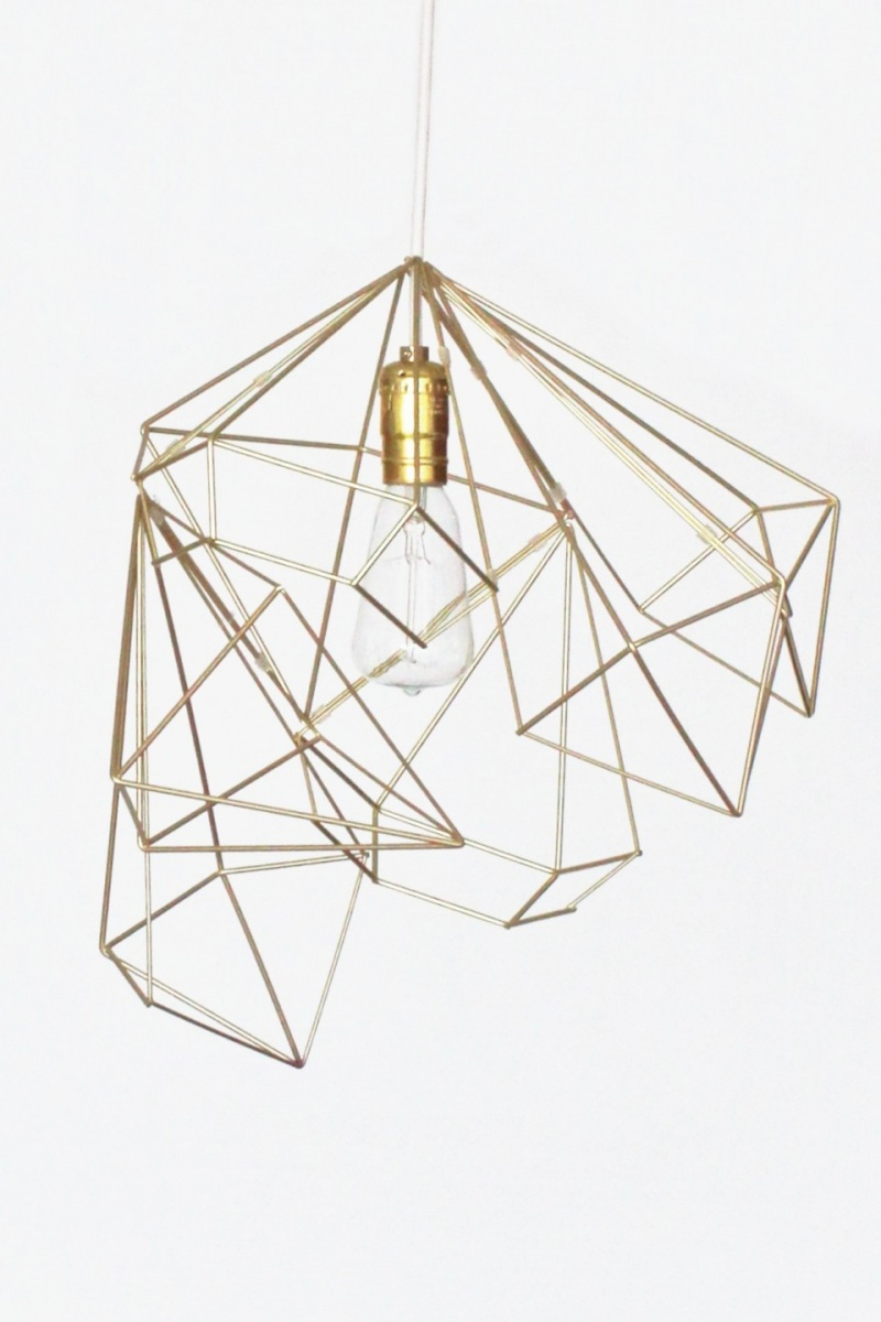 geometric gold lampshade