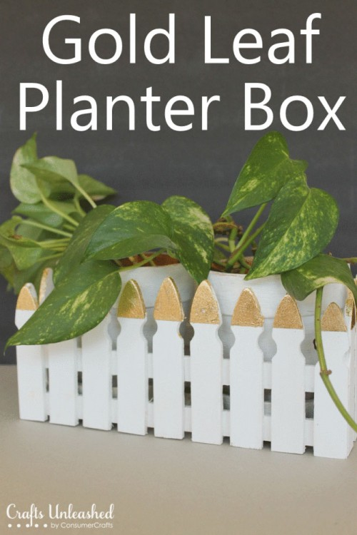 DIY Gold Leaf Fence Planter Box