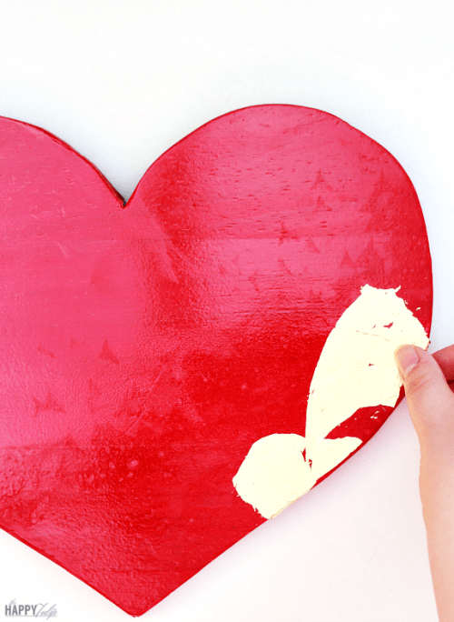 DIY Gold Leaf Heart For Valentine's Day Decor