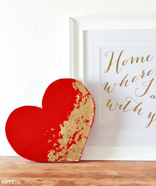 Diy Gold Leaf Heart For Valentine 39 S Day Decor Shelterness