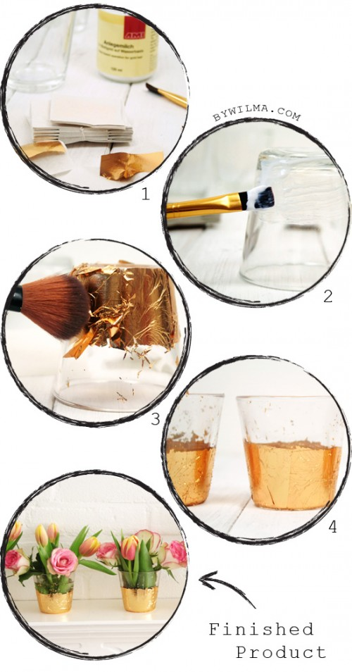 Diy Gold Leaf Vases Or Votives For Decor
