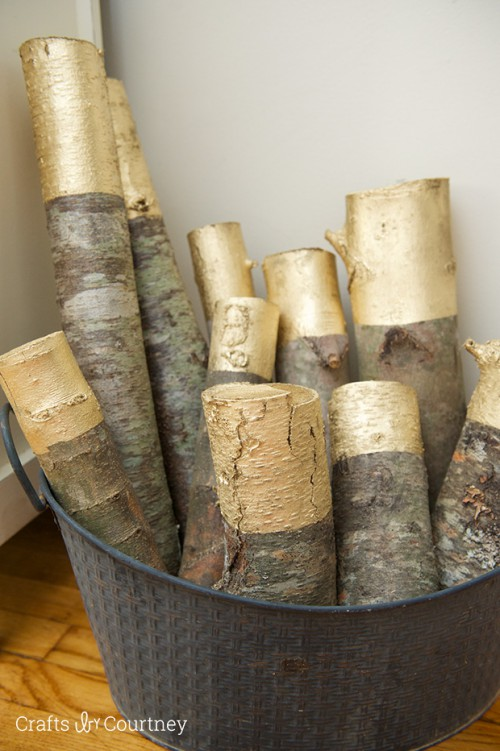 DIY Gold Painted Logs For Rustic Decor