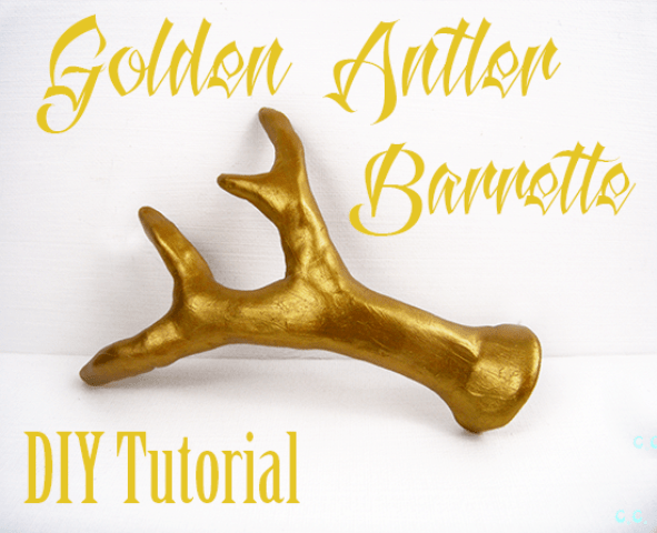 DIY Golden Antler Hair Barrette