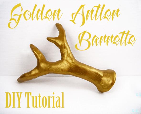 DIY Golden Antler Hair Barrette