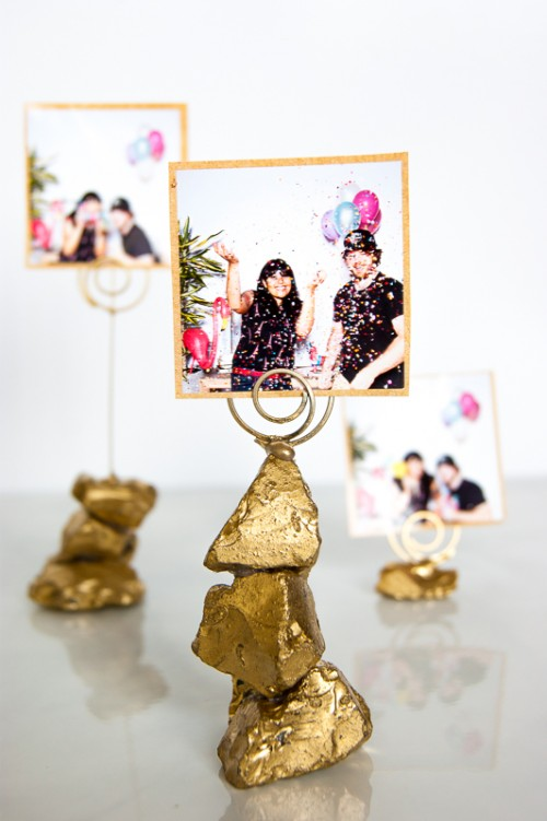 DIY Golden Nugget Photo Holders