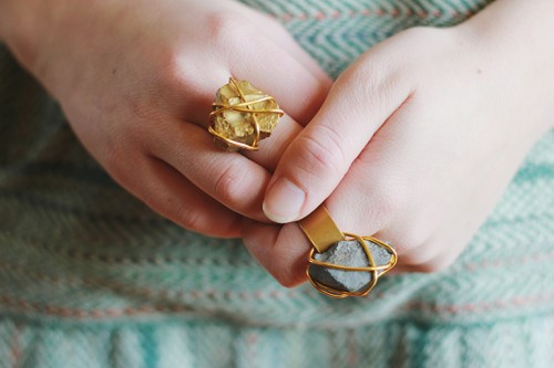 DIY Golden Stone Ring