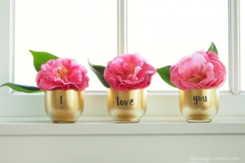 DIY Golden Valentine's Day Votives