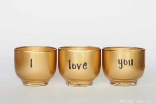 DIY Golden Valentine's Day Votives