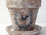 Diy Graphic Stenciled Flower Pot