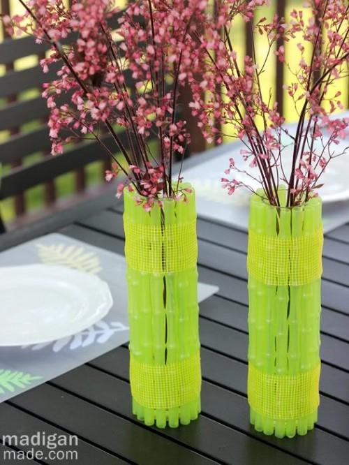 Неоновые вазы из бамбука
