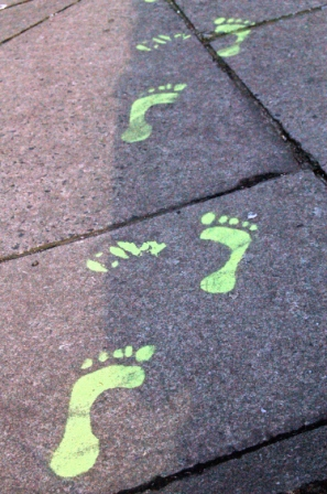 neon Halloween footprints