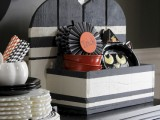 black and white pumpkin stand