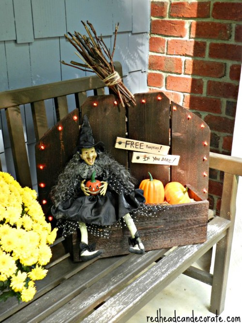 witch pumpkin stand (via redheadcandecorate)