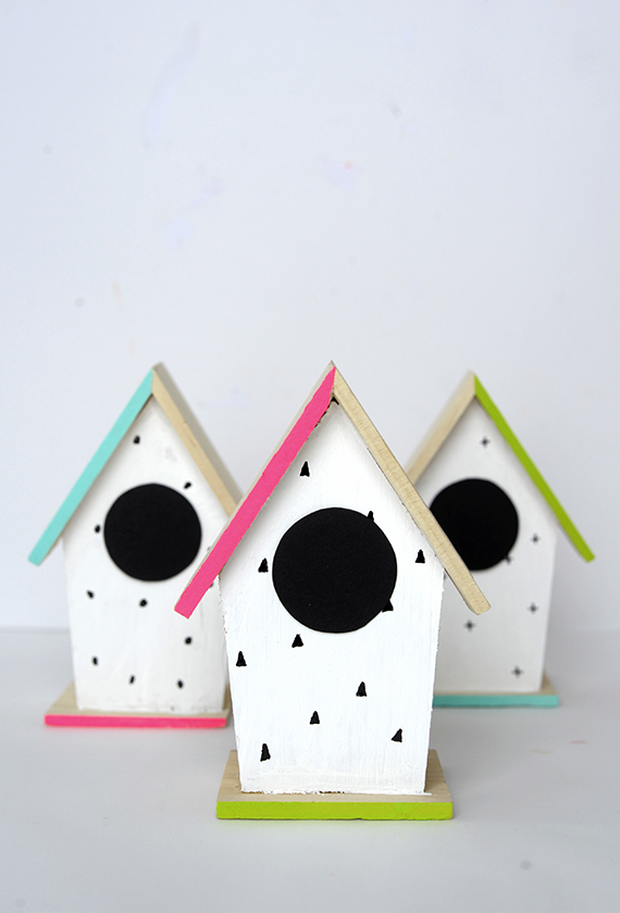 DIY Hand-Painted Modern Bird Houses