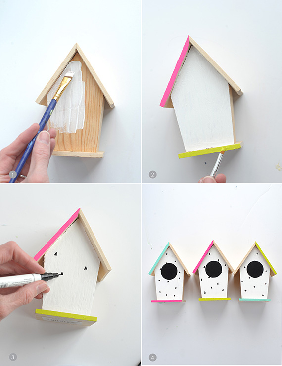 Picture Of diy hand painted modern bird houses  2