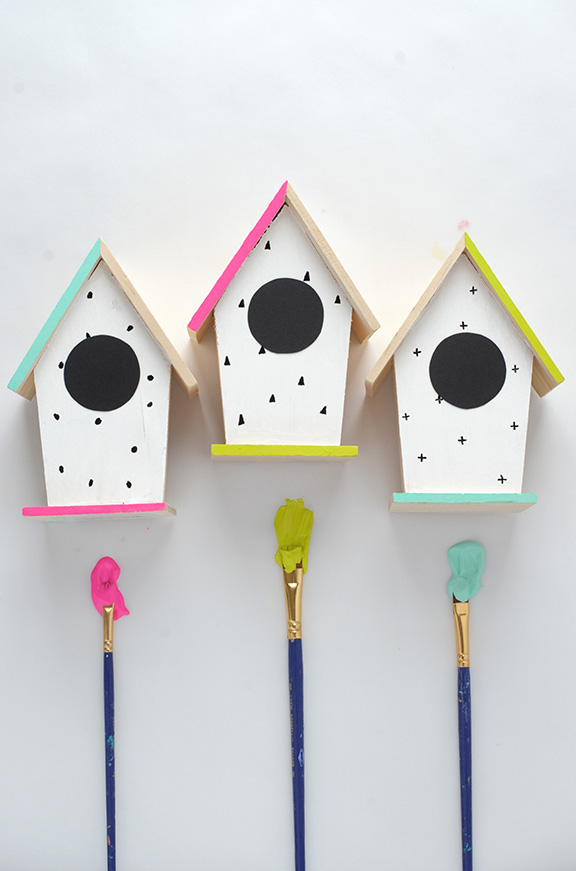 Picture Of diy hand painted modern bird houses  3