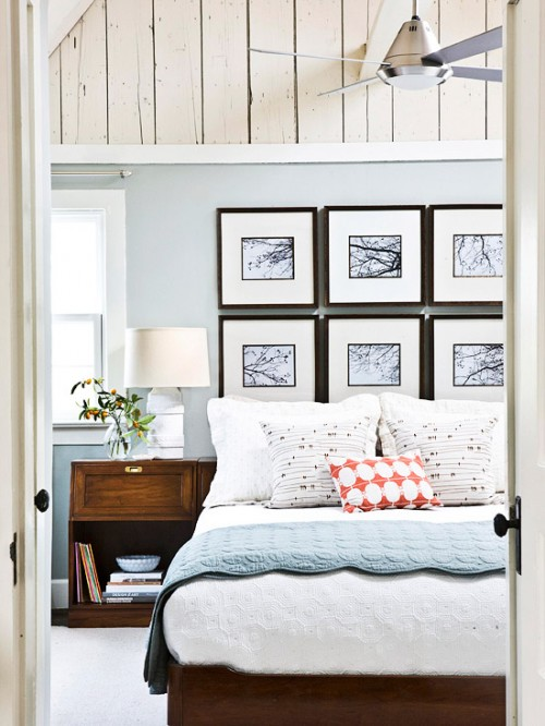 diy easy headboard of pictures in frames  shelterness, Headboard designs