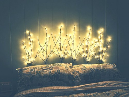 pre-lit branches headboard (via ivillage)