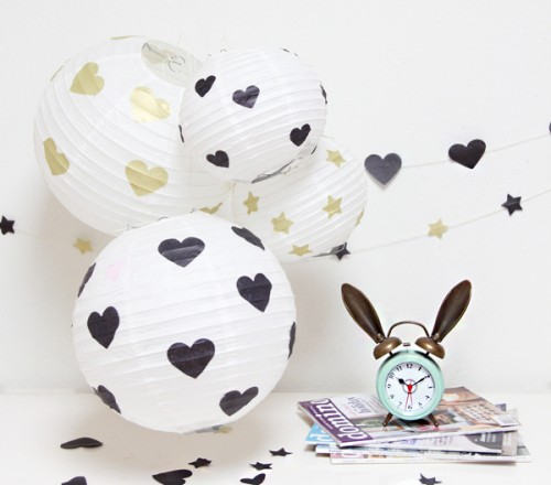 DIY Hearts And Stars Paper Lanterns