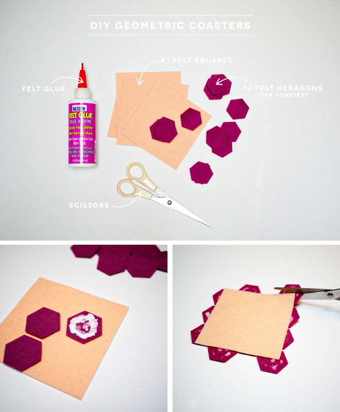 Diy Hexagon Felt Coasters