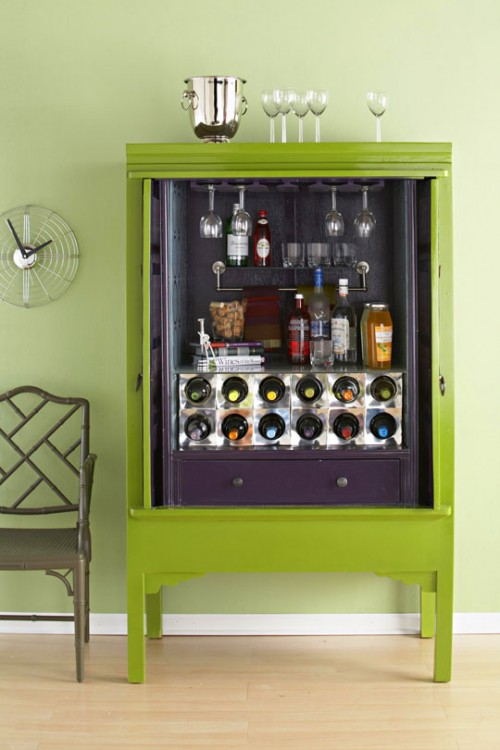 DIY Home Bar Cabinet From An Armoire - Shelterness