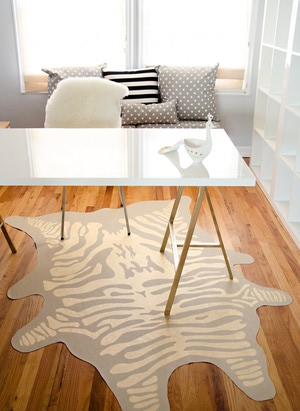 gold zebra rug (via diy)