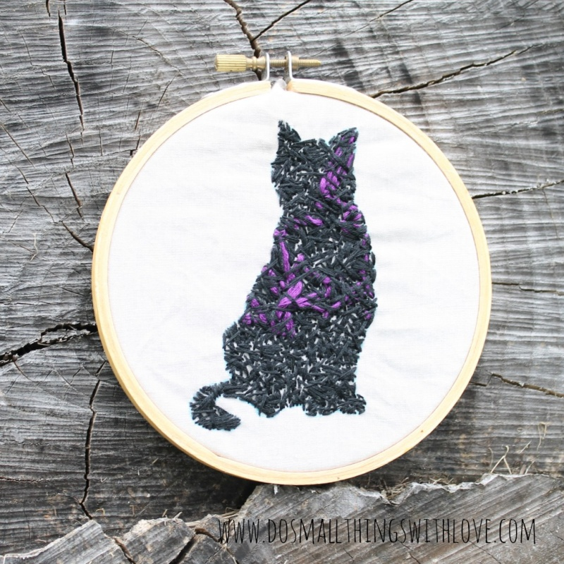 Halloween embroidered black cat
