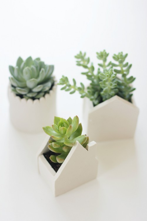 DIY Clay Pots Shaped Like Small Houses
