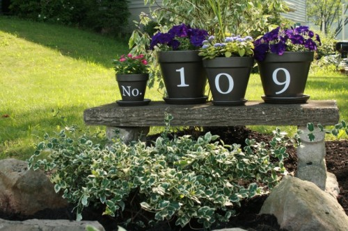 DIY House Numbers Of Flower Pots