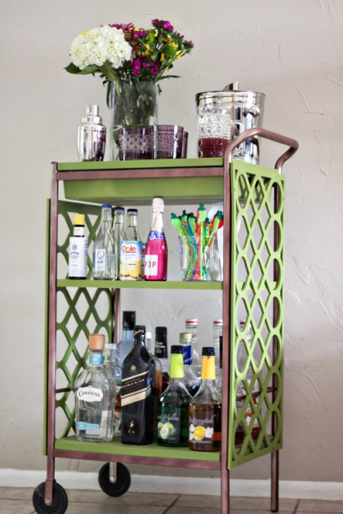 colorful IKEa bar cart