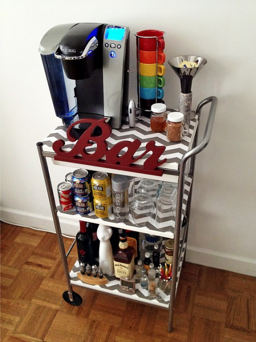 bar cart decorated with a shelf liner (via fabulousfashions4sensiblestyle)