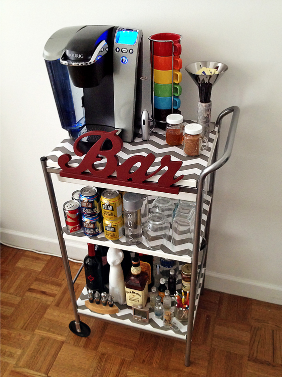 bar cart decorated with a shelf liner
