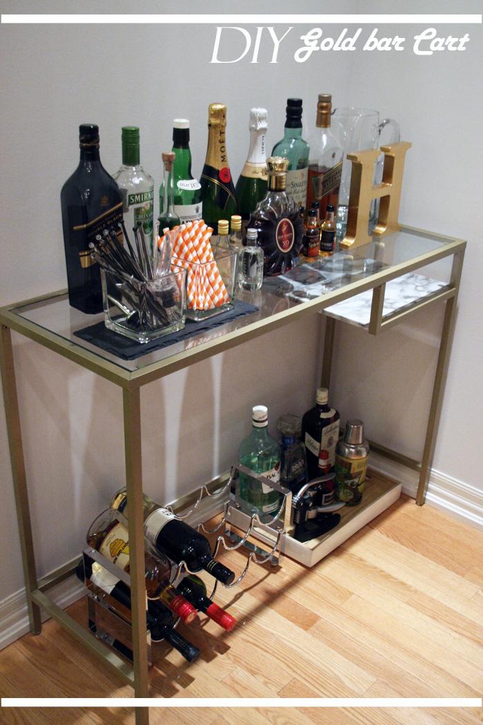 gold bar cart with glass shelves