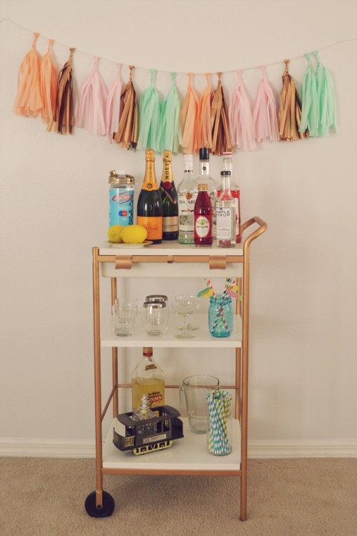 gold IKEA bar cart (via blushandjelly)