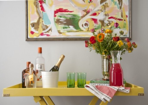 bright yellow bar cart (via houseofearnest)