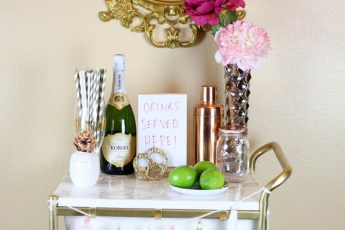 DIY IKEA Hack: Gold And Marble Bar Cart