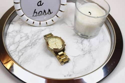 DIY IKEA Hack: Marble Tray From A Candle Dish