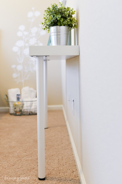 Diy ikea hack narrow console table shelterness for Narrow end table ikea