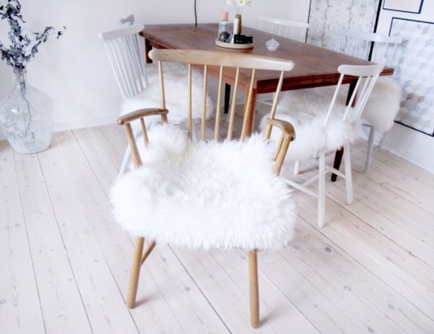 Picture Of diy ikea sheep skin hack into chair covers  1