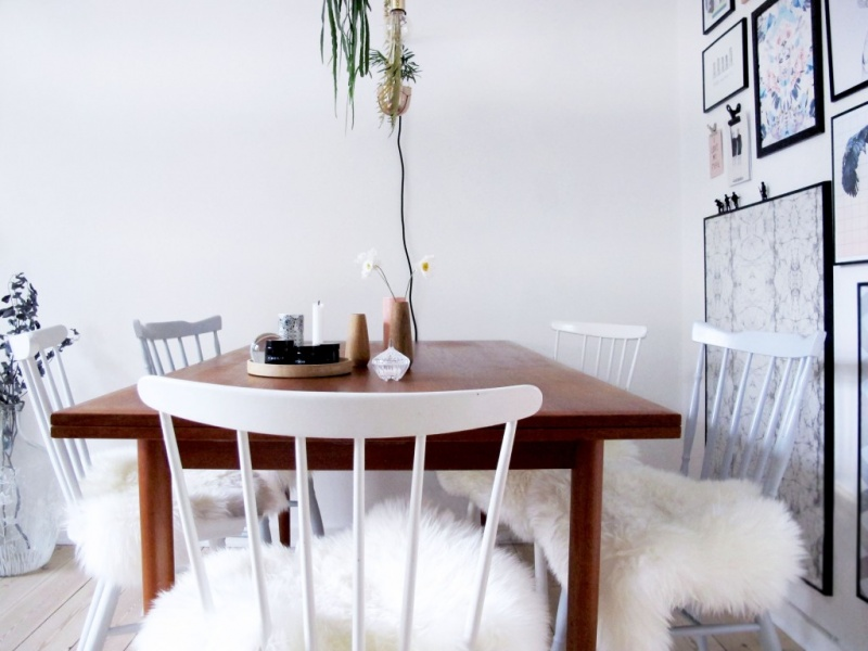 Picture Of diy ikea sheep skin hack into chair covers  3