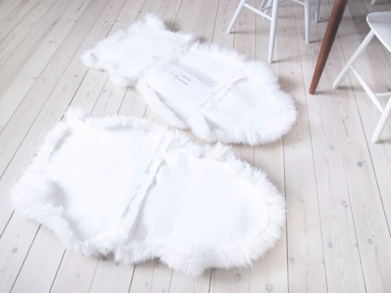 Picture Of diy ikea sheep skin hack into chair covers  6