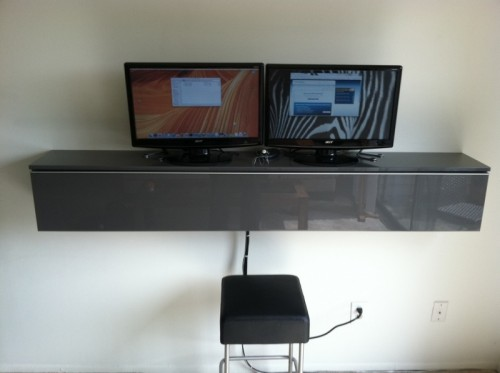 DIY Wall Mount Computer Workstation Of IKEA's DVD Holder