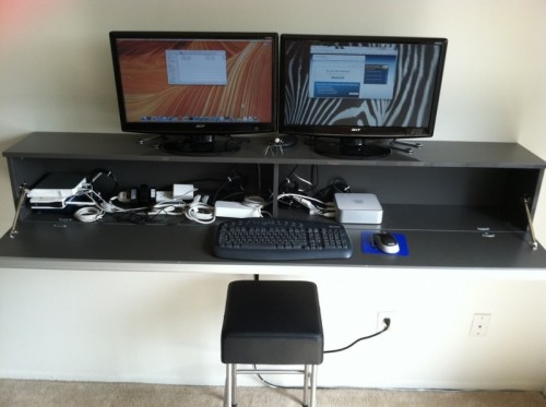 Diy Wall Mount Computer Workstation Of Ikea S Dvd Holder